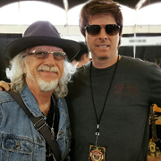 Mike Himmel with Aerosmith guitarist Brad Whitford at the Dallas International Guitar show, 2016