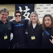 Mike Himmel at the South Carolina Guitar Show with Team BOSS/Roland (l to r) Dan Quisenberry, Mike Himmel, Greg Thompson from Music N More, and Austin Sandick