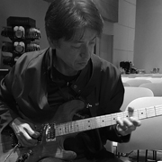 Yoshi Ikegami, CEO of BOSS Worldwide, playing the Himmelator Guitar